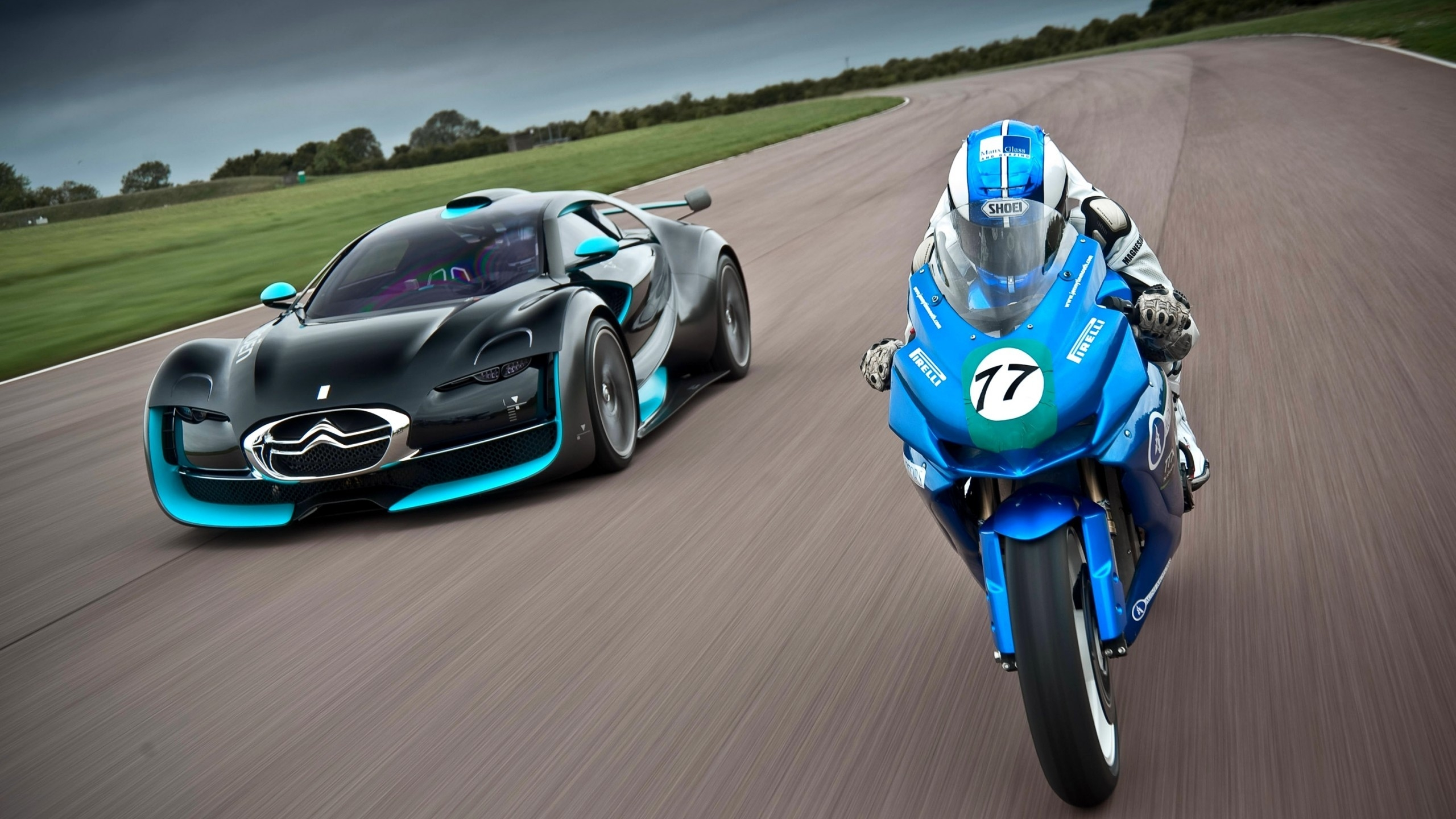 citroen and moto race 2560x1440 wallpaper 14313